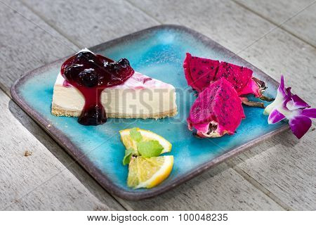 Strawberry Cheese cake and Dragon fruit topping.
