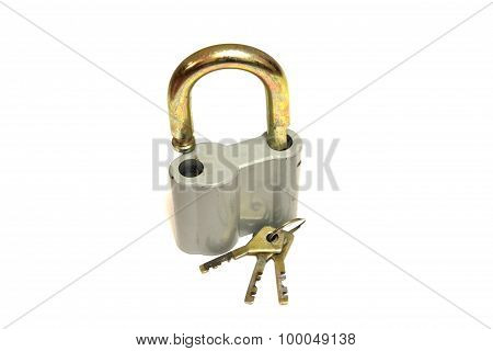 Padlock with key isolated on white background