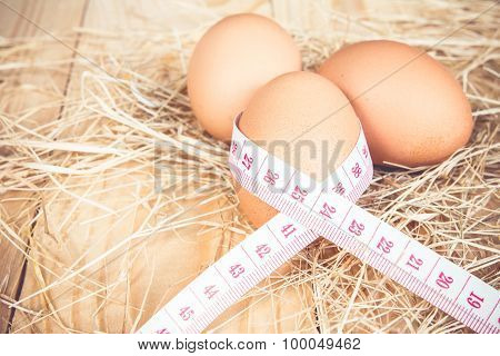 Measurement Tape Wrap Around Eggs, Symbolize Of Healthy Eating Of High Protein