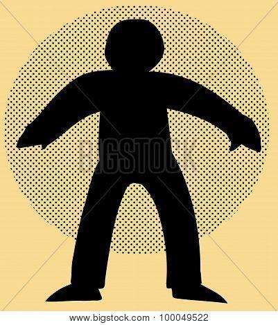 Human Figure Cartoon Over Brown