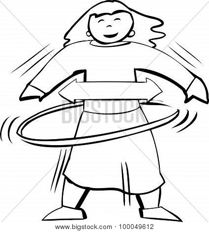 Outline Of Woman In Hula Hoop