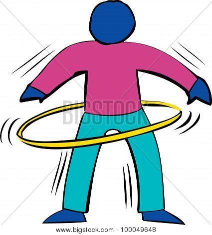 Blue Person Using Hula Hoop