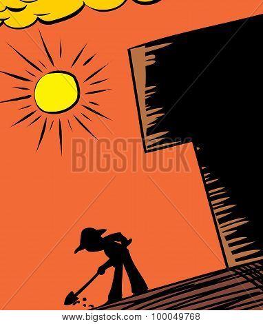 Hot Sun And Gardener Digging
