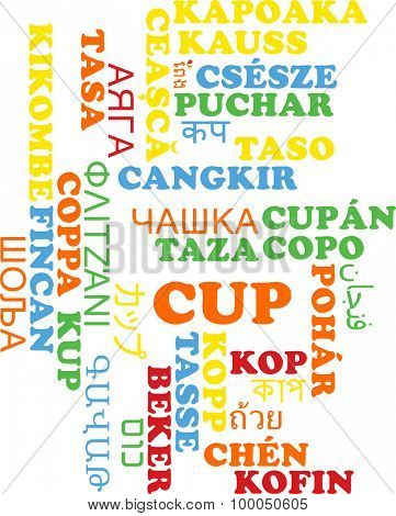 Background concept wordcloud multilanguage international many language illustration of cup