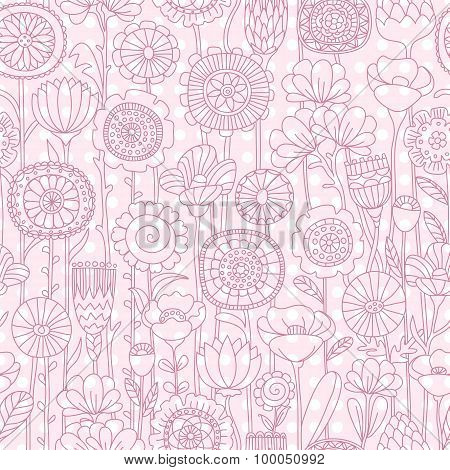 vector seamless pink floral pattern