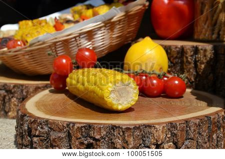 Grilled corn and cherry tomatoes
