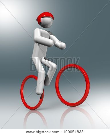 Cycling Mountain Bike 3D Symbol, Sports