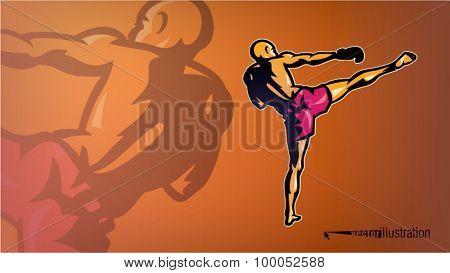 Kickboxer in a pose. Sport logo-style