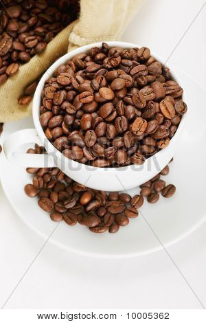 White Cup And Saucer With Coffee Crop