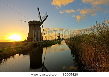 Traditonal windmill in the countryside from the Netherlands