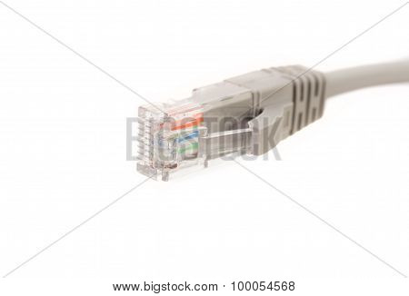 LAN cable / cord, CAT5E with RJ45 head for computer network connecting isolated on white background poster