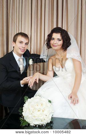 newlyweds in interior