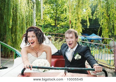newlyweds on rollercoaster