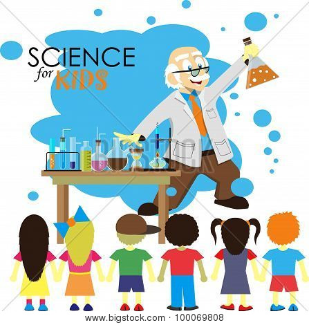 Science for kids. Cartoon scientist shows to kids chemistry experiment in laboratory. Vector Illustr