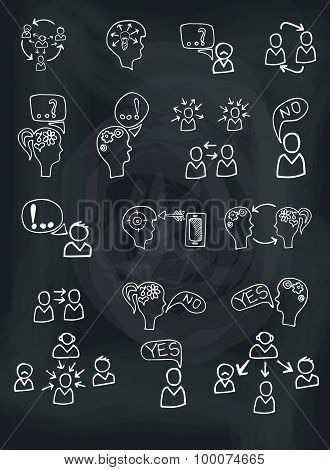 Doodle scheme people communication with icons.Chalkboard