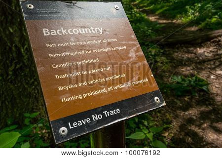 Backcountry Warning Sign