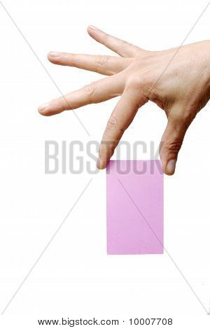 hand holding a pink sheet of paper isolated on white background