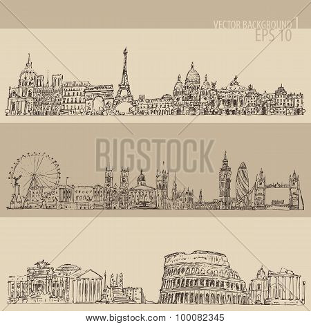 city set London, Paris, Rome vintage engraved illustration, hand drawn