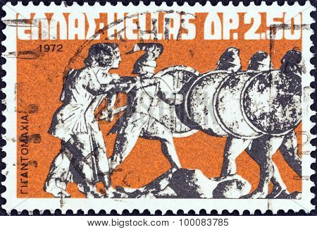 GREECE - CIRCA 1972: A stamp printed in Greece shows The Gods repulsing the Giants