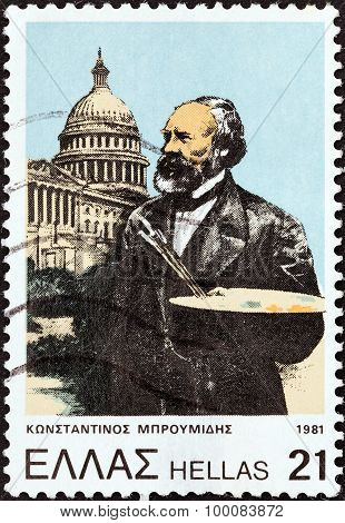 GREECE - CIRCA 1981: A stamp printed in Greece shows artist Constantine Broumidis and Capitol