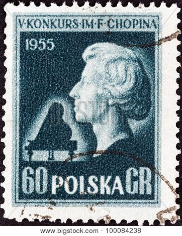 POLAND - CIRCA 1955: A stamp printed in Poland shows Bust of Chopin (after L. Isler)
