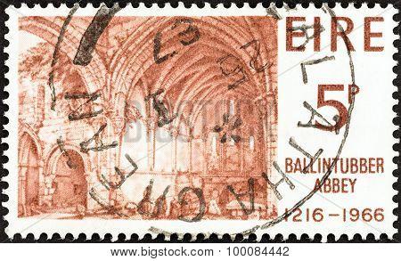 IRELAND - CIRCA 1966: A stamp printed in Ireland shows interior of Ballintubber Abbey (lithograph)
