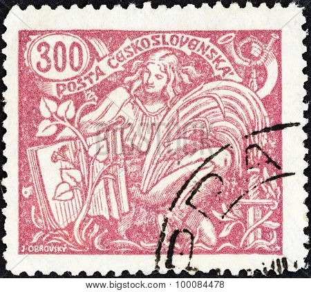 CZECHOSLOVAKIA - CIRCA 1920: A stamp printed in Czechoslovakia shows Agriculture and Science