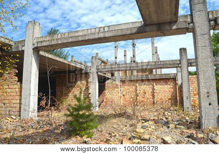 Abandoned construction site of  Hospital.Abandoned at 1991,during ukrainian undependence crisis. Near Kiev,Ukraine