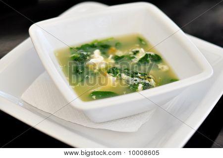 Bowl With Straciatella Soup