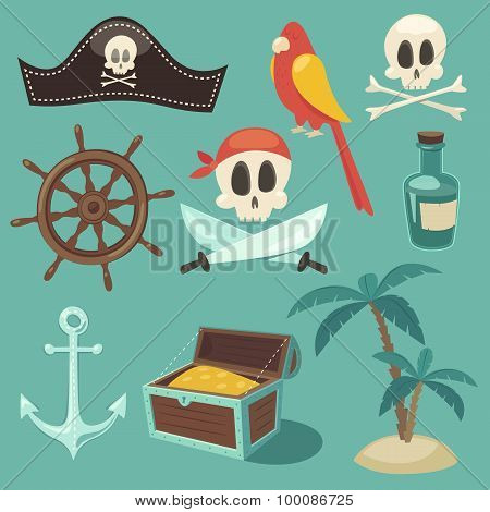 cute pirate set, objects collection, vector illustration, flat design