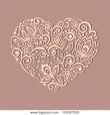 Silhouette Of The Heart Symbol Decorated With Floral Pattern, A Design Element In The Old Style.