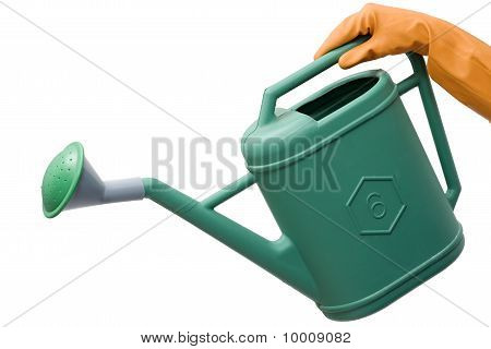 hand with rubber glove holding a watering can isolated on white background