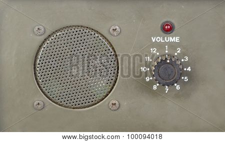 Old Dial Volume Switch With Speaker And Red Light Indicator