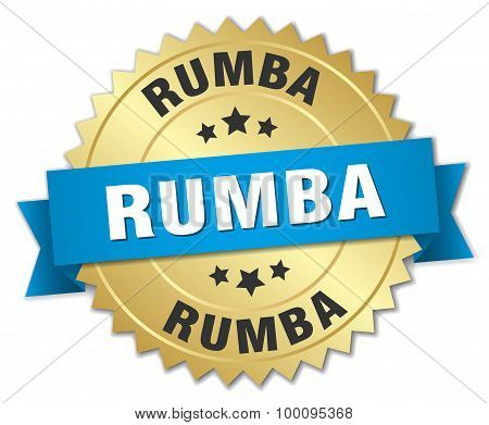 Rumba 3D Gold Badge With Blue Ribbon