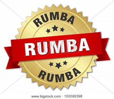 Rumba 3D Gold Badge With Red Ribbon