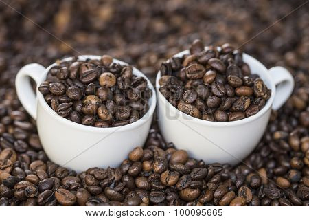 cups of coffee beans