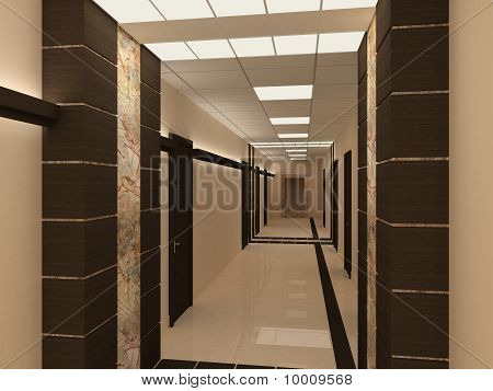 Empty Hallway In Modern Building
