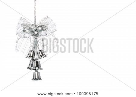 Luxury Silver Jingle Bells With Bowknot, Hanging Decoration