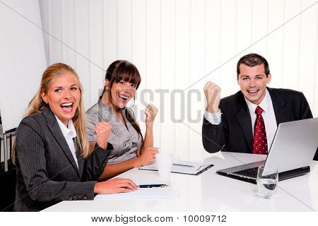 Successful Team At A Meeting In The Office