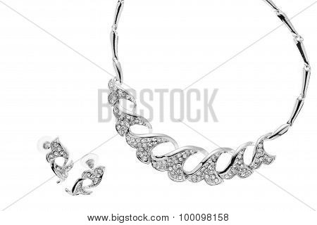 Closeup Gemstone Necklace And Earrrings On Isolated White Background, Cliping Path.