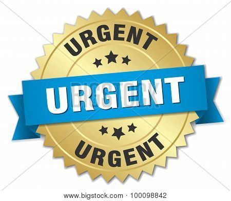 Urgent 3D Gold Badge With Blue Ribbon