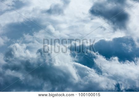 Dramatic sky with stormy clouds and horizen poster