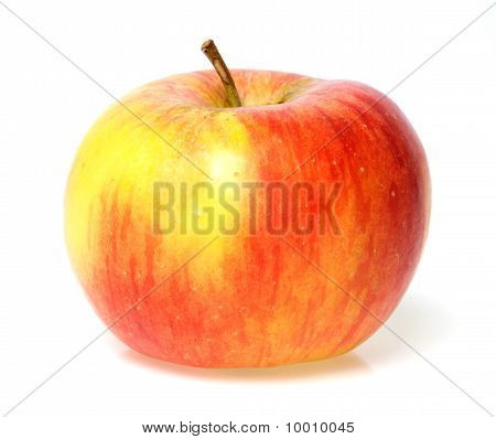 one red and yellow apple on white background