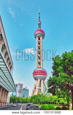 Shanghai-may 24, 2015. Oriental Pearl Tower On  Blue Sky Background. Tower  470 Meter The Oriental P
