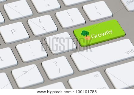 Growth concept on a computer keyboard with symbol of tree (3D Rendering)