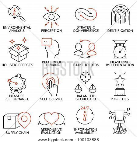 Vector Set Of 16 Icons Related To Business Management - part 5