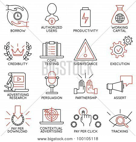 Vector Set Of 16 Icons Related To Business Management - part 11