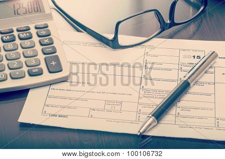 Miscellaneous Income Form On Desk