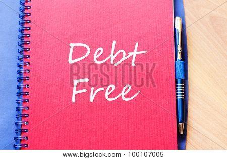 Debt Free Text Concept