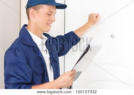 Positive standing near the door